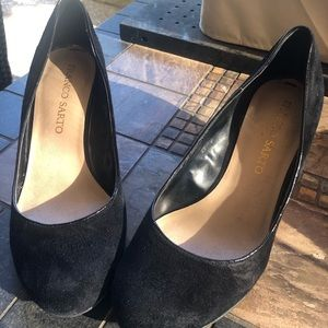 Franco Sarto black wedge with leopard heeled shoes